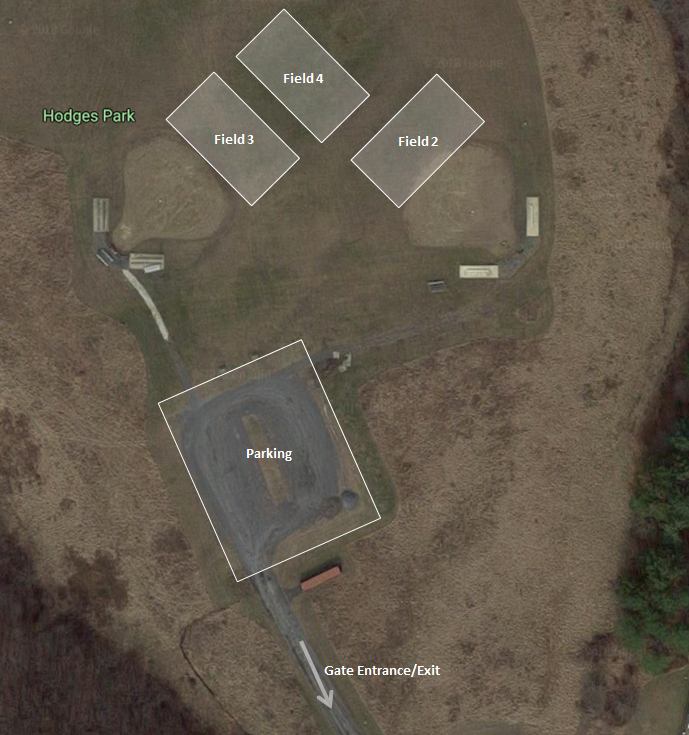 Overhead view of fields at Hodges Park Field
